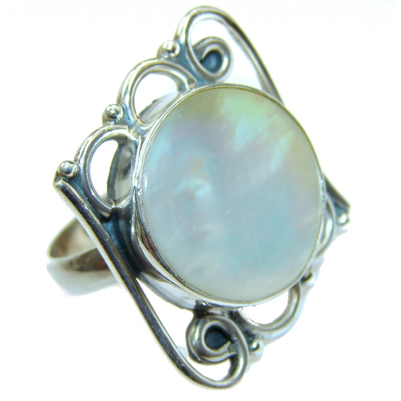 Blister Pearl .925 Sterling Silver handmade ring size 9