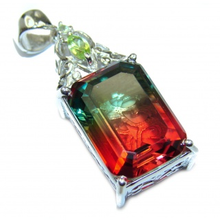 Deluxe Tourmaline color Topaz .925 Sterling Silver handmade Pendant