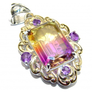 Royal Ametrine 18K Gold over .925 Sterling Silver handmade Pendant
