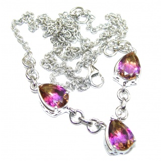 Special Handmade Real Bi-color Ametrine .925 Sterling Silver Necklace