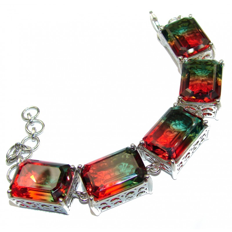 Luxury Tourmaline color Topaz .925 Sterling Silver handmade Bracelet