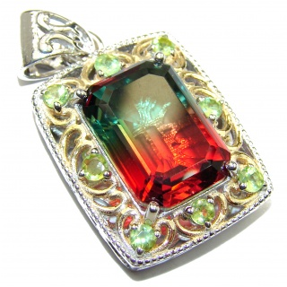 Deluxe Emerald cut Tourmaline color Topaz 14K Gold over .925 Sterling Silver handmade Pendant