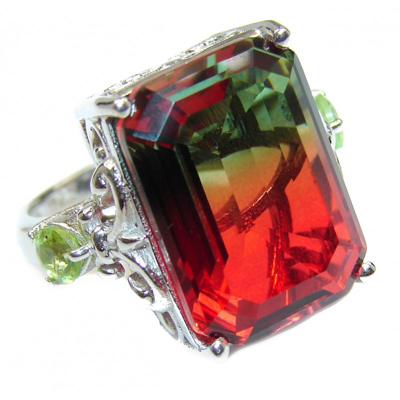 HUGE Top Quality Magic Volcanic Tourmaline color Topaz .925 Sterling Silver handcrafted Ring s. 6 3/4