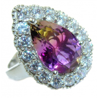 Genuine Pear Cut 25ct Ametrine .925 Sterling Silver handcrafted ring; s. 7 1/2