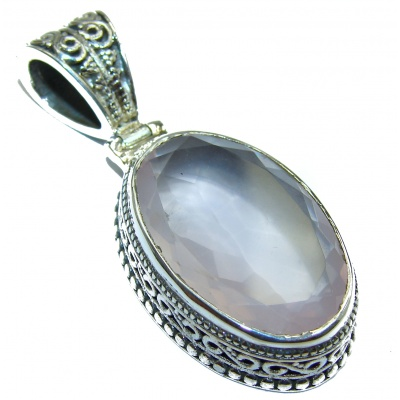 Perfect Rose Quartz .925 Sterling Silver handcrafted Pendant