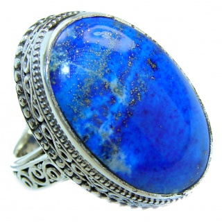 Natural Lapis Lazuli .925 Sterling Silver handcrafted ring size 7 1/4