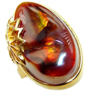 Genuine Fire Agate Mexican 18K Gold over .925 Sterling Silver Ring size 7 1/2