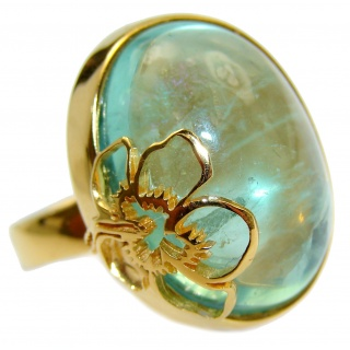 Floral Design authentic Apatite 18K Gold over .925 Sterling Silver ring; s. 8 1/4