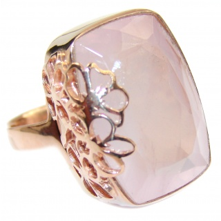 Baguette cut Rose Quartz 18K Gold over .925 Sterling Silver handcrafted ring s. 7 adjustable