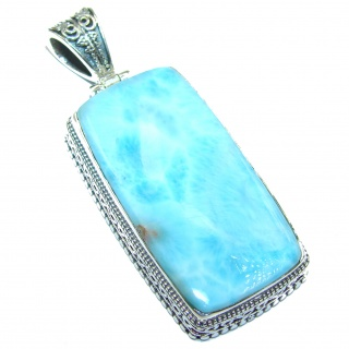 Large Treasure of Caribbean Sea Larimar .925 Sterling Silver handmade pendant