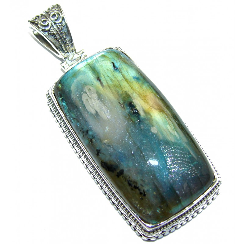 Perfection Huge 114ct Fire Labradorite .925 Sterling Silver handmade Pendant