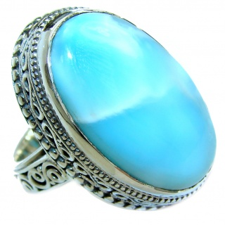 Natural Larimar .925 Sterling Silver handcrafted Ring s. 7