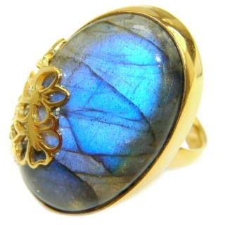 Regal Infinity Labradorite 18K Gold over .925 Sterling Silver Bali handmade ring size 8