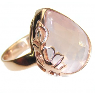Genuine Rose Quartz 18K Gold over .925 Sterling Silver handcrafted ring s. 7 adjustable