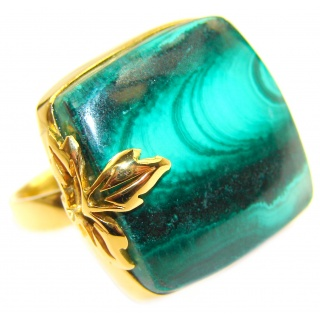 Sublime quality Malachite 18K Gold over .925 Sterling Silver handcrafted ring size 7 adjustable