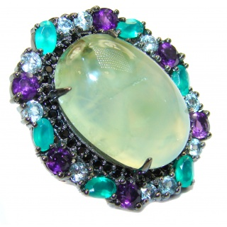 Natural Prehnite Emerald Black Rhodium over .925 Sterling Silver handcrafted Ring s. 7