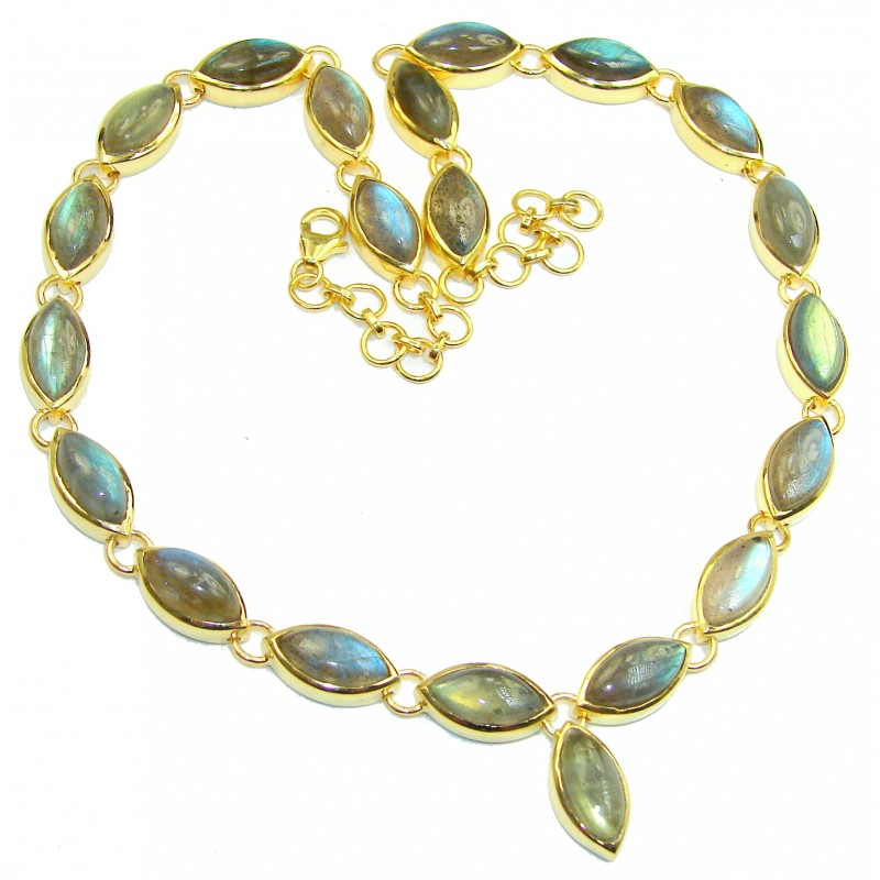 Great Masterpiece genuine Labradorite 18K Gold over .925 Sterling Silver handmade necklace
