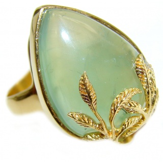 Natural Moss Prehnite 18K Gold over .925 Sterling Silver handmade ring s. 8