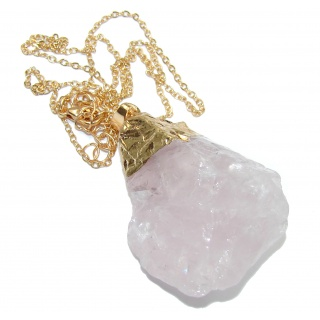 20 inches genuine Rough Rose Quartz Gold over .925 Sterling Silver handmade Necklace