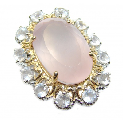 Pink Power 55ct Rose Quartz 14K Gold over .925 Sterling Silver handcrafted Pendant
