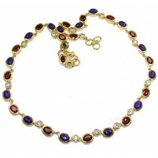 Great Masterpiece genuine Lapis Lazuli Garnet 18K Gold over .925 Sterling Silver handmade necklace