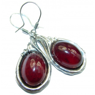 Large Authentic 42ct Garnet .925 Sterling Silver handmade earrings
