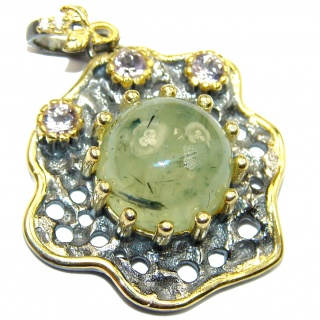 Authentic Moss Prehnite 14K Gold over .925 Sterling Silver handmade pendant
