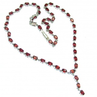 Great Masterpiece genuine Garnet .925 Sterling Silver handmade necklace