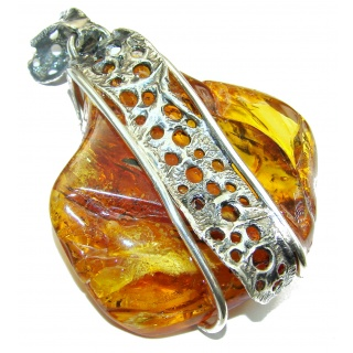 LARGE 2 5/8 INCHES long Natural Baltic Amber .925 Sterling Silver handmade Pendant