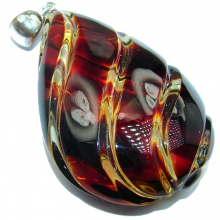 Huge Sophisticated pattern Authentic carved Baltic Amber .925 Sterling Silver handmade Pendant