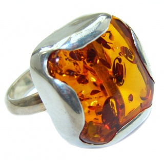 Authentic Baltic Amber .925 Sterling Silver handcrafted ring; s 7 3/4