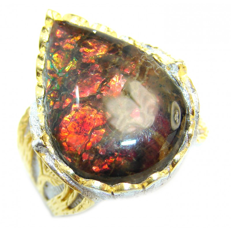 Pure Energy Genuine Canadian Ammolite 18K Gold over .925 Sterling Silver handmade ring size 8