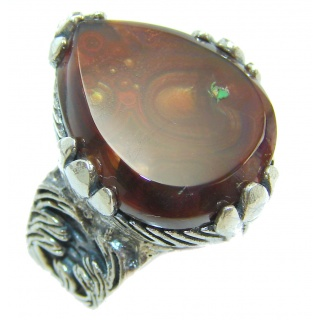 Genuine Fire Agate Mexican .925 Sterling Silver Ring size 6