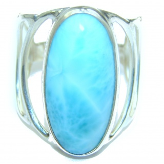 Natural Larimar .925 Sterling Silver handcrafted Ring s. 10