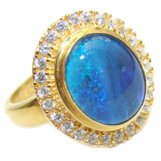 Australian Doublet Opal 18K Gold over .925 Sterling Silver handcrafted ring size 7 1/4
