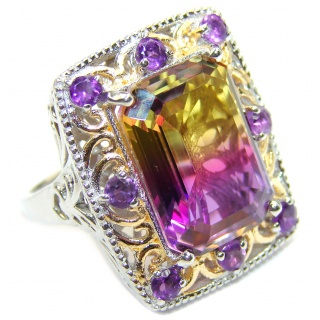 Huge Top Quality Ametrine .925 Sterling Silver handcrafted Ring s. 8