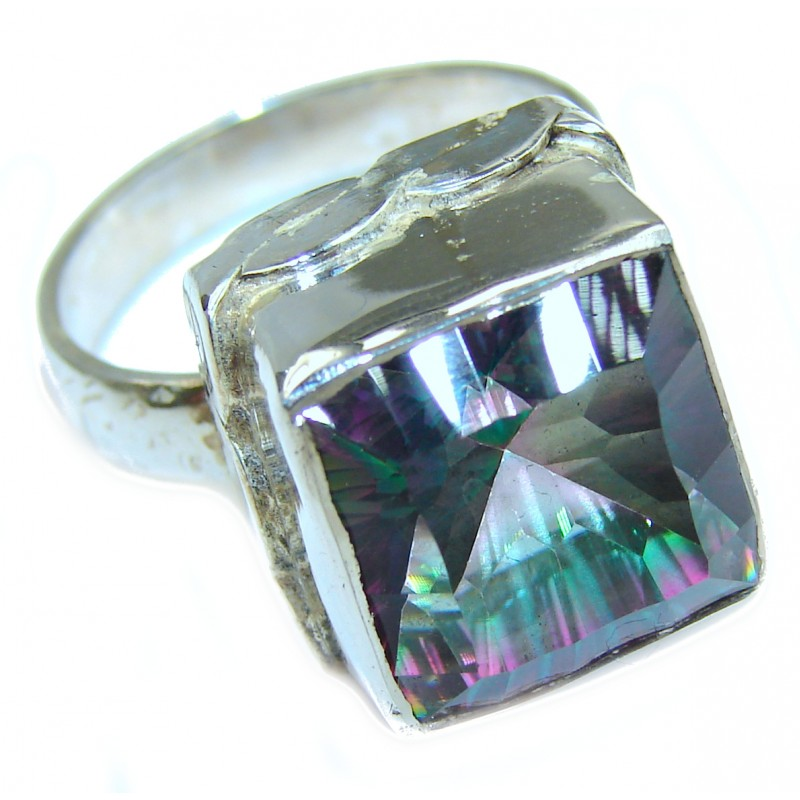 Huge Exotic Magic Topaz .925 Sterling Silver handcrafted Ring s. 8