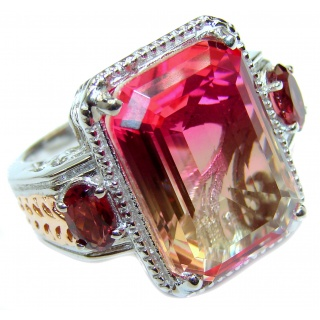 HUGE emerald cut Volcanic Pink Tourmaline Topaz .925 Sterling Silver handcrafted Ring s. 6 3/4