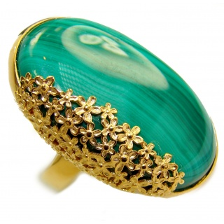 Natural Sublime quality Malachite 18K Gold over .925 Sterling Silver handcrafted ring size 7 1/4