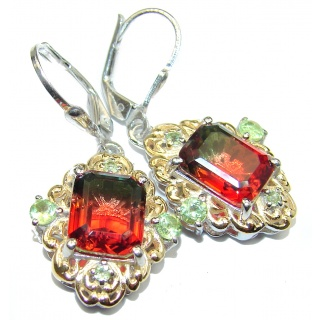 Tourmaline color Topaz 14K Gold over .925 Sterling Silver entirely handmade earrings