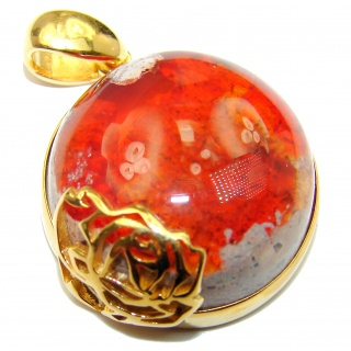 Floral Design Natural Mexican Fire Opal 18K Gold over .925 Sterling Silver handmade Pendant