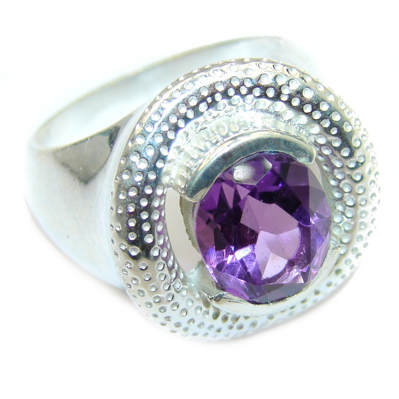 Spectacular genuine Amethyst .925 Sterling Silver handcrafted Ring size 7 3/4