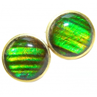 Green Aura AAA Fire Ammolite 18K Gold over .925 Sterling Silver handcrafted earrings