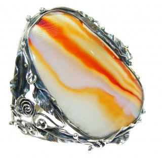 Huge Orange Fantasy Fire Botswana Agate oxidized .925 Sterling Silver handcrafted Bracelet