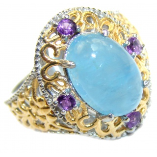 Spectacular genuine Aquamarine 14K Gold over .925 Sterling Silver handmade ring s. 6
