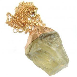 20 inches genuine Rough Citrine Gold over .925 Sterling Silver handmade Necklace