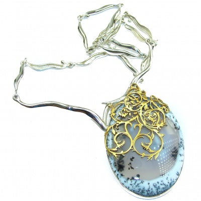 Oversized genuine Dendritic Agate 18K Gold over .925 Sterling Silver handcrafted necklace