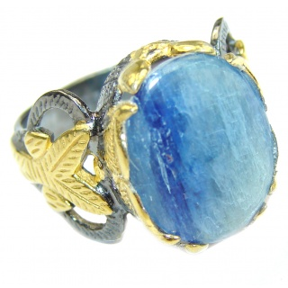 Huge Natural 26ct Kyanite 18K Gold over .925 Sterling Silver handcrafted ring size 8