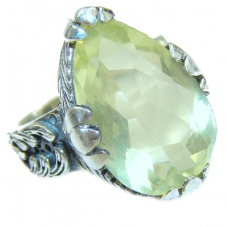 Vintage Style Natural Citrine .925 Sterling Silver handcrafted Ring s. 6 3/4
