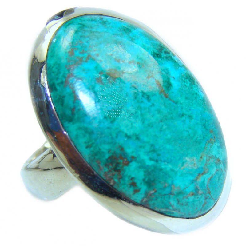 Natural Chrysocolla .925 Sterling Silver handcrafted ring size 7 1/2